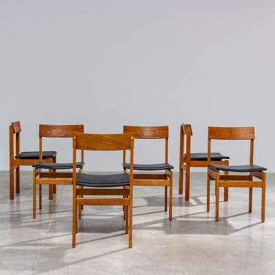 Set of six modernist dining chairs by Jos De Mey for Van den Berghe-Pauvers