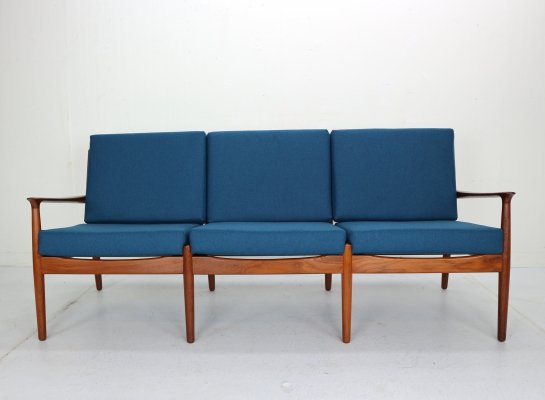 Three-Seat Teak Sofa by Grete Jalk for Glostrup Møbelfabrik, Denmark 1960s
