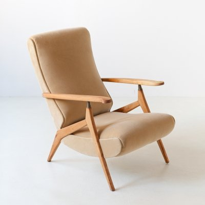 1950s Beech & Sand Velvet Recliner Lounge Chair