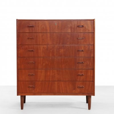 Exceptional wide Danish design chest of drawers in teak