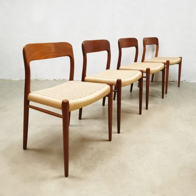 Set of 4 Danish 'Model 75' dining chairs by Niels O. Møller, 1950s