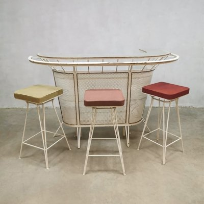 Vintage French design iron cocktail bar & 3 barstools