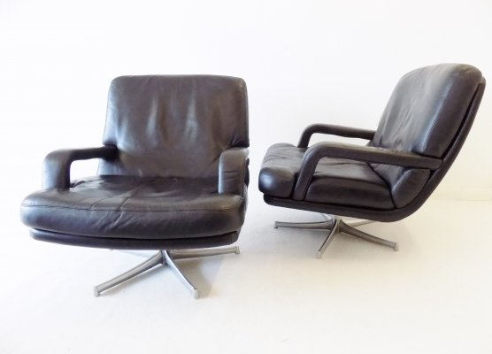 Pair of Bernd Münzebrock for Walter Knoll DON lowback leather lounge chairs, 1970s