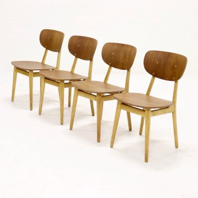 Set of 4 Pastoe SB13 dining chairs by Cees Braakman, 1950s