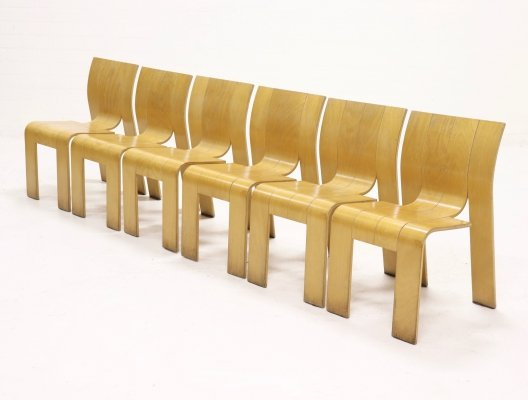Set of 6 Strip Dining Chairs by Gijs Bakker for Castelijn, 1970s