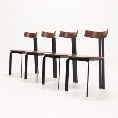 Set of 4 Mid Century Memphis Style 'Zeta' dining chairs by Harvink, 1980s