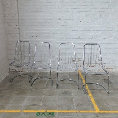 Set of 4 midcentury wire chairs, 1970s