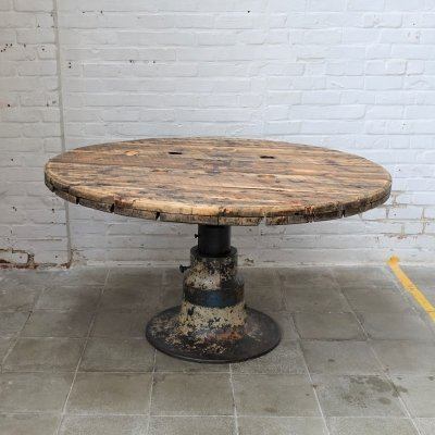 Vintage industrial round table, 1950s