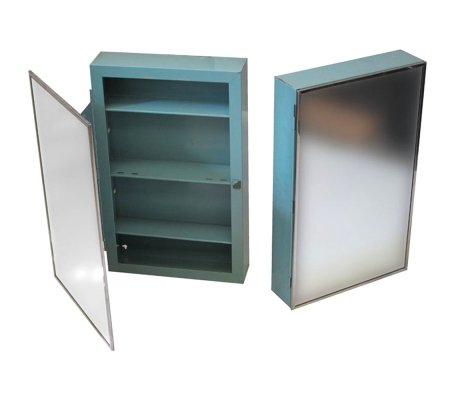 2 industrial metal mirrors cabinets, 1960s