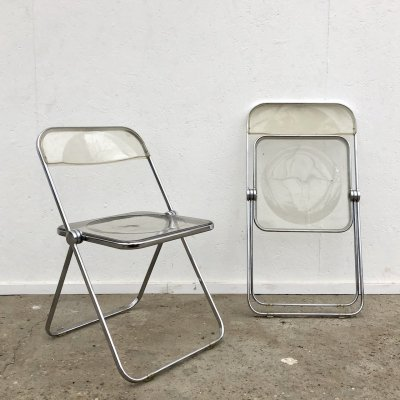 Pair of Plia folding chairs by Giancarlo Piretti for Castelli, Italy 1960s