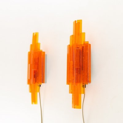 Pair of orange acrylic wall lamps by Claus Bolby for Cebo Industri