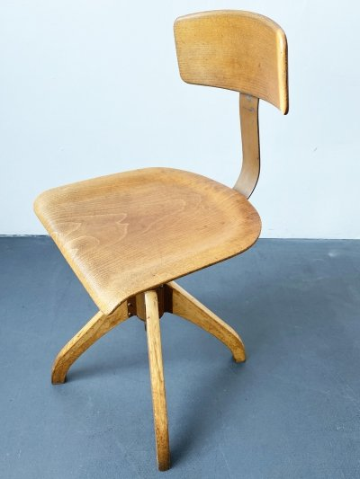 Height Adjustable Ama Elastik Swivel Chair Model 350 with Backrest, 1930s