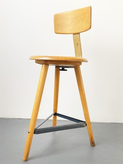 Ama Elastik Workshop Stool with 3 Legs & Backrest, 1950s