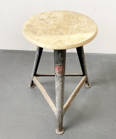Metal & Wood Workshop Stool by Robert Wagner for Rowac, 1930s