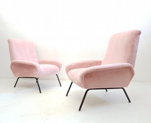 Midcentury Italian Armchairs in Pink Faux Fur