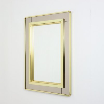 Large brass mirror in Hollywood regency style, Italy 1970s