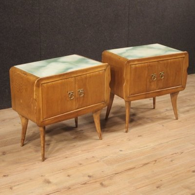 Pair of 20th Century Exotic Wood with Glass Top Italian Design Bedside Tables