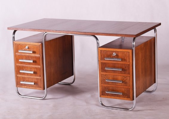 Oak Bauhaus Chrome Writing Desk by Marcel Breuer for Thonet, 1930s