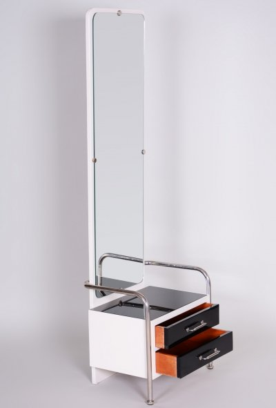 Black & White Vintage Bauhaus Toilette with Mirror by Vichr, 1930-1939