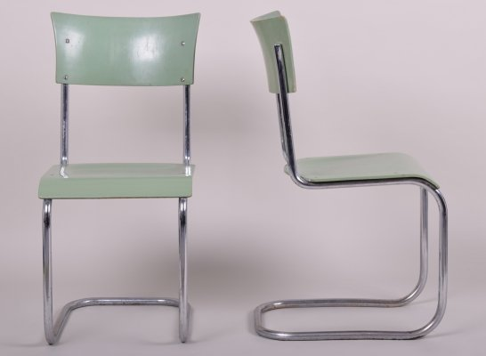 Green Vintage Bauhaus Pair of Chairs by Robert Slezák, 1930s