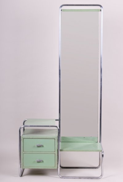 Green Vintage Bauhaus Toilette with Mirror by Mücke-Melder, 1930s