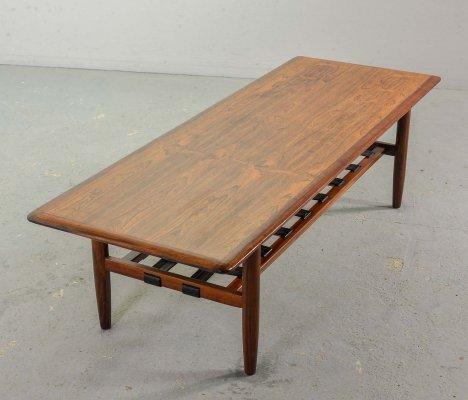 Dutch Design Rosewood Topform Coffee Table with Leather Magazine Holder, 1960s