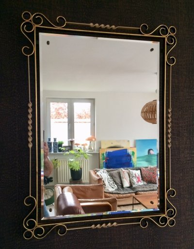 Fer Forgé Wrought Iron large beveled Mirror, 1950's