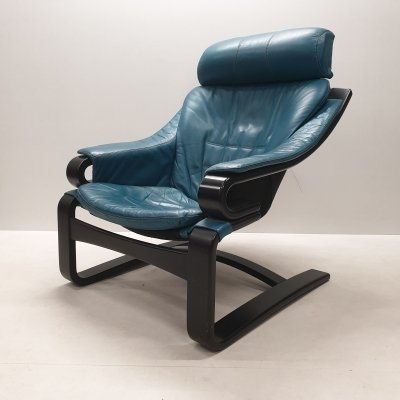 Petrol blue leather 'Apollo' lounge chair by Svend Skipper for Skippers Mobler