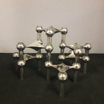 BMF modular chrome candleholder by Fritz Nagel & Ceasar Stoffi, 1970s