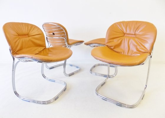 Set of 4 leather 'Sabrina' dining chairs by Gastone Rinaldi for Rima, 1970s