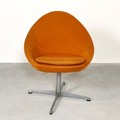 Orange Little Egg Swivel Chair by Pastoe, 1960s