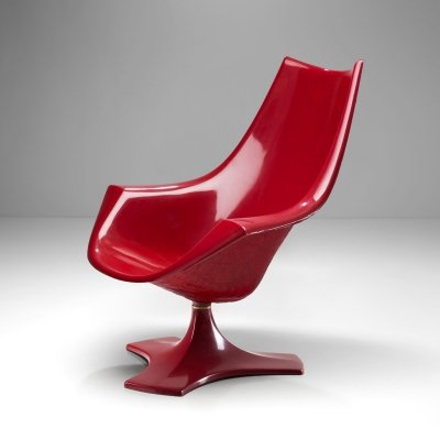 Red Fibreglass 'Amicus' Armchair by Antero Poppius, Finland 1970's