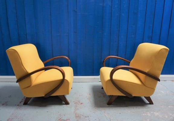 Pair of 1930's Art Deco Halabala Loungers in Yellow