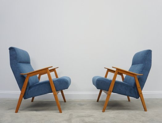 Pair of Blue Mid Century Easy Chairs by Interier Praha, 1960's