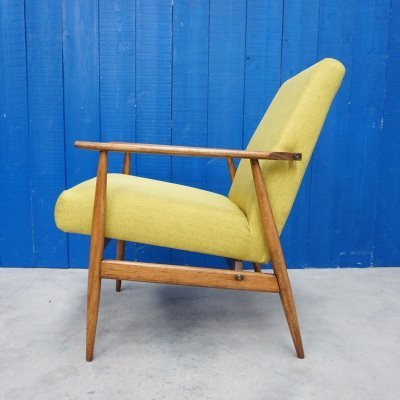 Mid Century Modern Henryk Lis Easy Chair in Green Apple, 1970