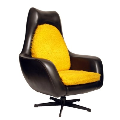 Black Leather Swivel Chair by Drevotvar, Czechoslovakia 1980s