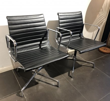 Pair of 'EA 108' Aluminium Group Chairs by Charles & Ray Eames for Vitra, 1990s