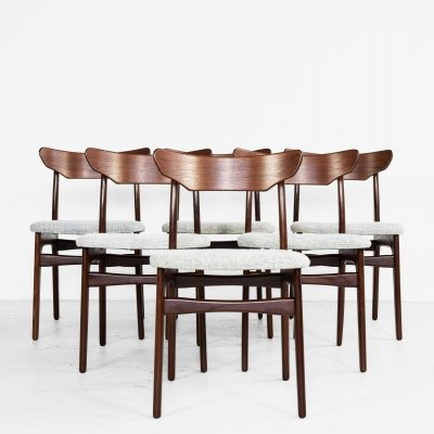 Midcentury Danish set of 6 dining chairs in teak by Schiønning & Elgaard