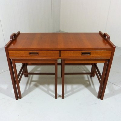 Set of 3 teak nesting tables with drawers by Skaraborgs Möbelindustri, Sweden