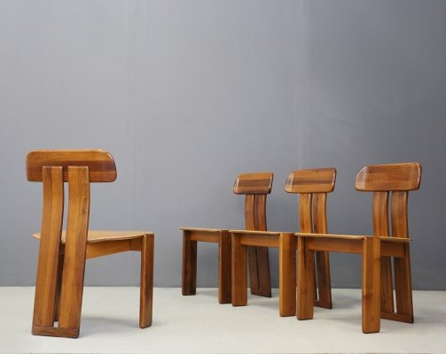 Set of 4 Wood & Leather Dining Chairs by Saporro for Mobil Girgi, 1970s