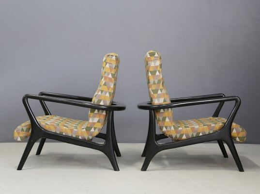 Pair of Midcentury American armchairs with original Fabric, 1950s