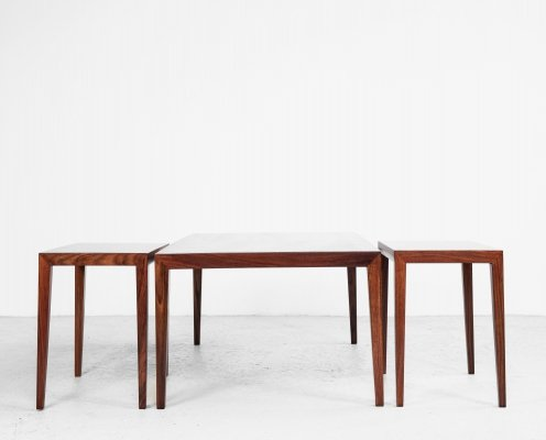 Danish set of 3 sofa tables in rosewood by Severin Hansen for Haslev, 1960s