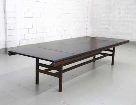 Leather & Wood Gritti series Table by Carlo Scarpa, 1970s