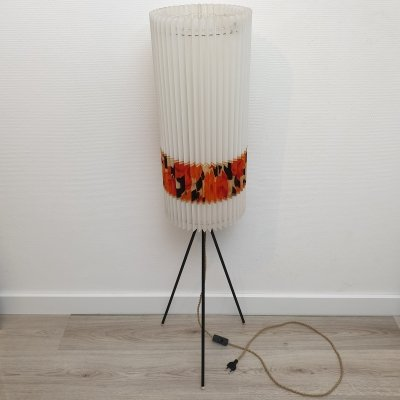 Mid-Century tripod floor lamp with a Rhodoïd shade by Aro Leuchten Germany