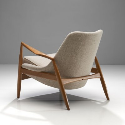 Ib Kofod-Larsen Seal Lounge Chair in Light Linen Blend Fabric, Sweden 1950s