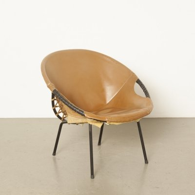 Brown Circle Balloon chair from Lusch & Co, 1960s
