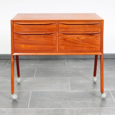 Sewing box or cabinet on wheels with four drawers, 1960s