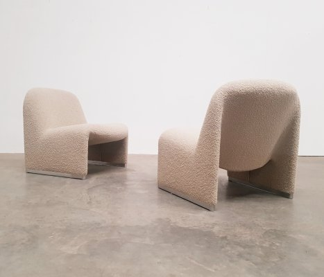Set of 2 taupe bouclé Alky chairs by Giancarlo Piretti for Castelli, 1970s