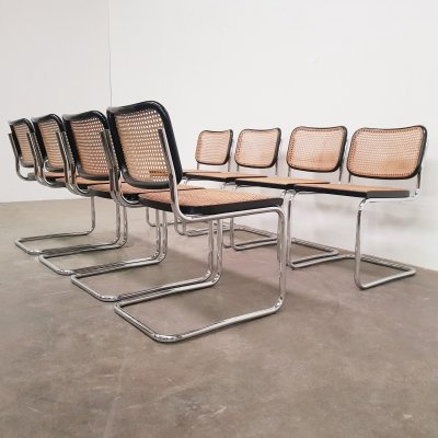 Set of 8 marked Cesca chairs by Marcel Breuer for Gavina, 1970s