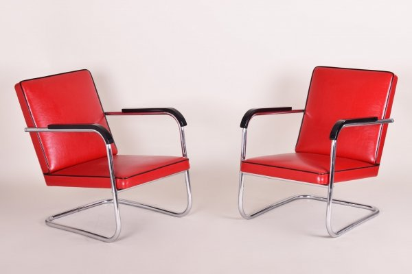 Pair of Red Tubular Thonet Armchairs by Anton Lorenz, 1930s